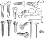 Screws and nails. Long  metals industrial Royalty Free Stock Images