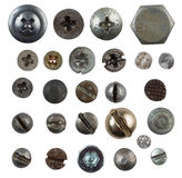 Screws, nails, bolts heads isolated on white. Collection Royalty Free Stock Photo