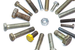 Screws and nut. On white background Royalty Free Stock Photos