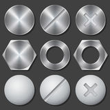 Screws, nuts and bolts realistic icons set Stock Photo