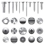 Screws and nuts icons vector set Royalty Free Stock Images