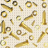 Screws and nuts over metallic texture Stock Photography