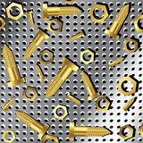 Screws and nuts over metallic texture 2 Royalty Free Stock Photo