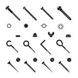 Screws, nuts and rivets icons vector set Royalty Free Stock Images