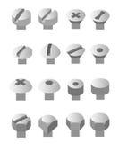 Screws and nuts set. Socket hexagon head bolts royalty free illustration