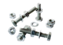 Screws and nuts on a white background Stock Images