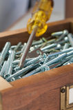 Screws and Philips Screwdriver Royalty Free Stock Image