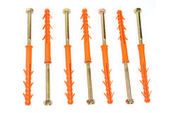 Screws with plastic wall plugs Stock Image