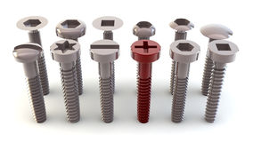 Screws in positive Stock Images