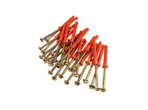 The screws with red plastic anchors Stock Photo