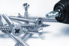 Screws and screwdriver Stock Images