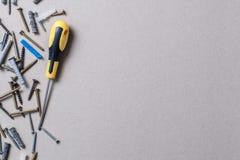Screws and screwdriver Stock Photos