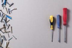 Screws and screwdrivers Stock Images