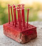 Screws are screwed in wood painted with red paint.  stock photo