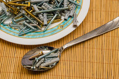 Screws soup Royalty Free Stock Photography