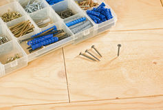 Screws and toolbox Royalty Free Stock Images