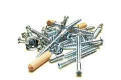 Screws and tools. Screws and work tools on white Stock Photography