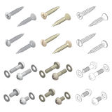 Screws Washers Hardware Isometric Set. Clean vector isometric 3D perspective illustration of long and short screws and washers, both forward and rear angles in royalty free illustration