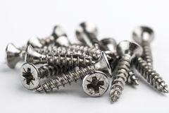 Screws on white background Stock Photo