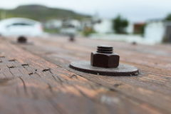 Screws in wood with bokeh stock images