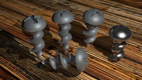 Screws on the wood Royalty Free Stock Photo