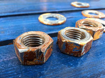 Screws on Wooden Ground Stock Images