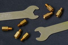 Screws and wrench Stock Image