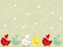 scribble многоточий цыпленоков ретро иллюстрация штока