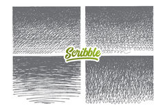 Scribble нарисованный рукой установленный с зеленой литерностью Стоковая Фотография
