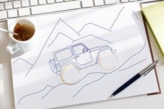 Scribble сделанный во время сверлильного перерыва на чашку кофе Стоковые Изображения RF