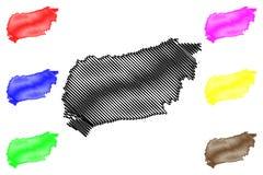 Западный вектор карты Сассекс иллюстрация штока