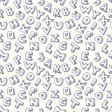 Scribble alphabet seamless pattern. Stock Photography