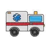 Scribble ambulance car cartoon Stock Image