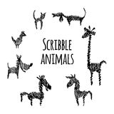 Scribble animal collection Royalty Free Stock Images