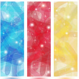 Scribble banners in colors blue, red and gold. With shinings Stock Images