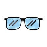 Scribble blue sunglasses cartoon Stock Photo
