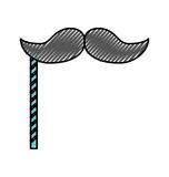 Scribble booth prop moustache cartoon. Vector graphic design Royalty Free Stock Images