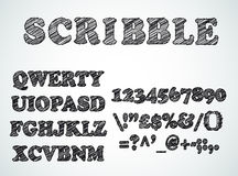 Scribble bordered alphabet with pen sketch  effect. Uppercase, numbers and all symbols included Royalty Free Stock Photo