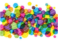 Scribble bright circles background. Colorful illustration with painted bright bubbles Stock Image