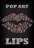 Scribble bright pop art lips on blackboard Stock Image