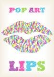 Scribble bright pop art lips Stock Photos