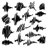 Scribble brush strokes set. Equalizer icons. Scribble brush strokes set, vector logo design element. Equalizer icons Royalty Free Stock Photo