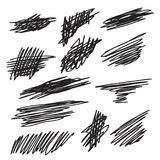 Scribble brush strokes set. Vector logo design element Stock Images
