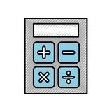 Scribble calculator cartoon. Cute scribble grey and blue calculator cartoon vector graphic design Stock Photo