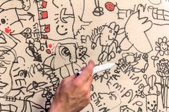 Scribble cardboard, doodle type hand drawing. Kid style Royalty Free Stock Images
