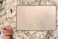Scribble cardboard, kid style hand drawing Stock Photos