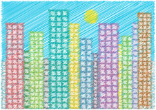 Scribble cartoon skyscrapers Royalty Free Stock Images