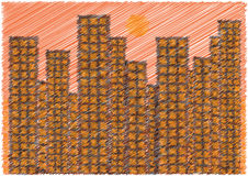 Scribble cartoon skyscrapers in sunset Royalty Free Stock Images