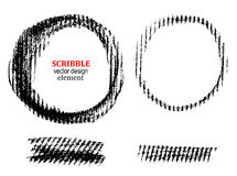 Scribble charcoal on paper. Set of black hand drawn. Scribble charcoal on paper. Circles and strokes for your design. Vector Stock Photos