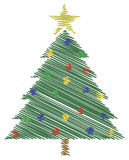 Scribble Christmas Tree. With Star royalty free illustration